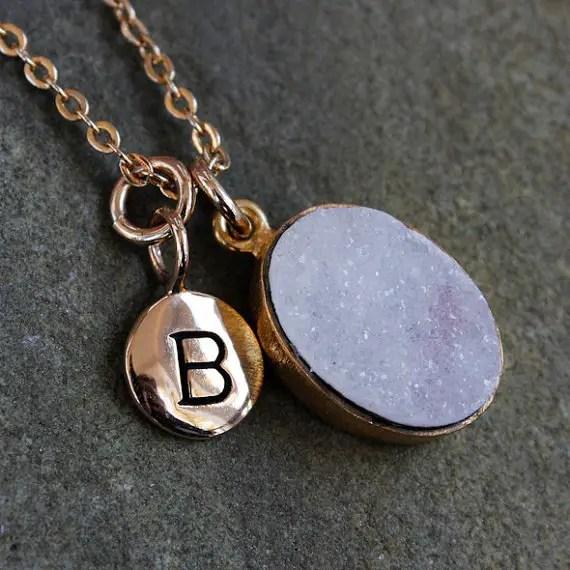 druzy jewelry - necklace with initial