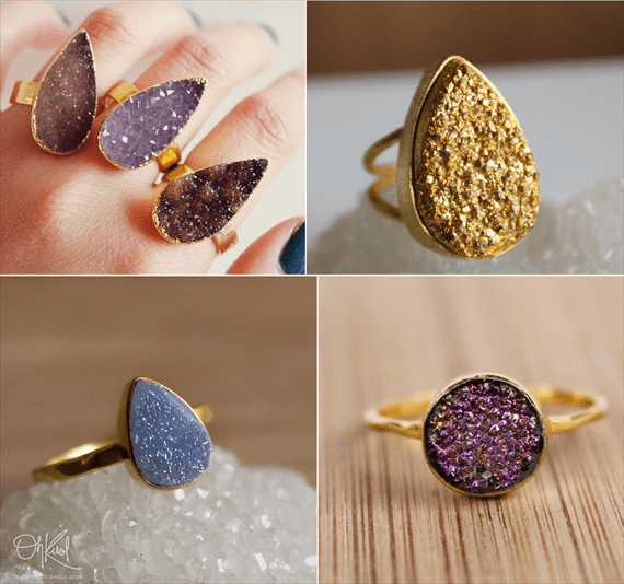 druzy jewelry rings