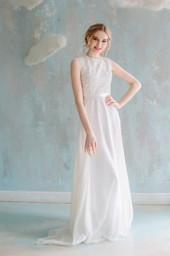 elegant creamy colored wedding dress