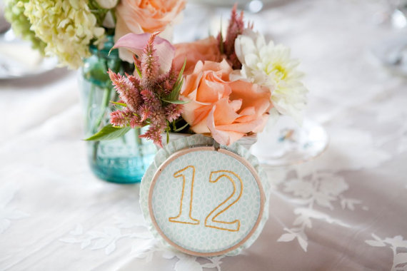 embroidered wedding ideas - embroidery table numbers (by the merriweather council)