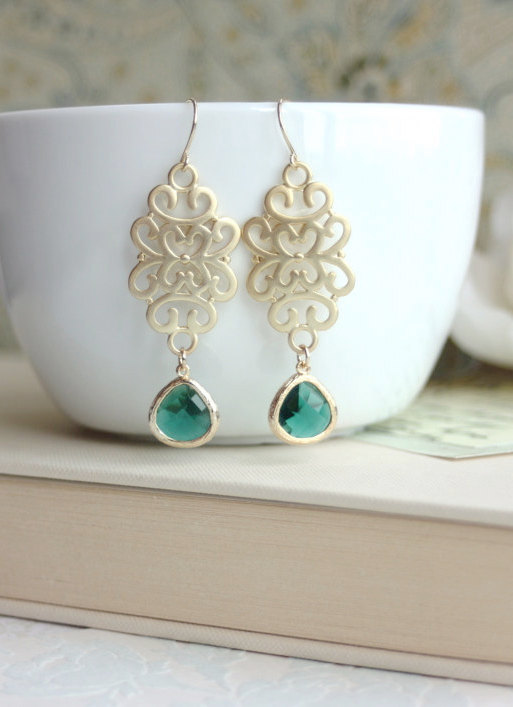 emerald gold earrings moroccan wedding jewelry