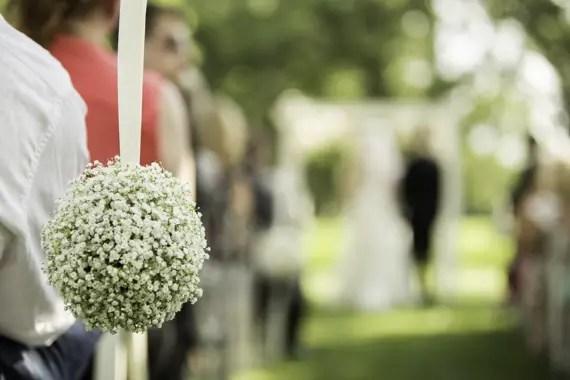 Rebecca Borg Photography - Elgin Country Club Wedding - baby's breath pomander ceremony decoration
