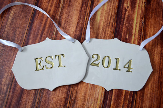 established in 2014 wedding chair signs