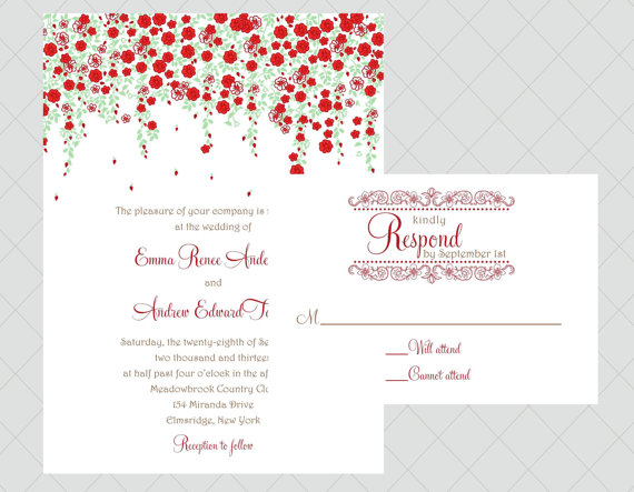 roses via 6 Colorful Wedding Invitations with Florals