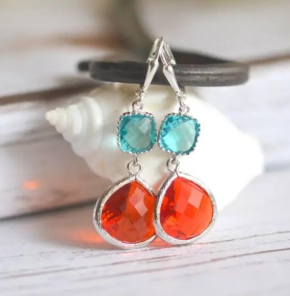 fire orange and aquamarine dangle earrings | via Best Aquamarine Jewelry Finds on Etsy - http://emmalinebride.com/bride/best-aquamarine-jewelry/