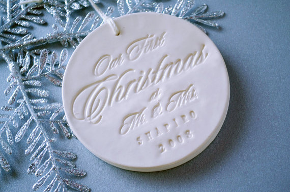first christmas susabellas via 50+ First Christmas Ornaments Engaged / Married