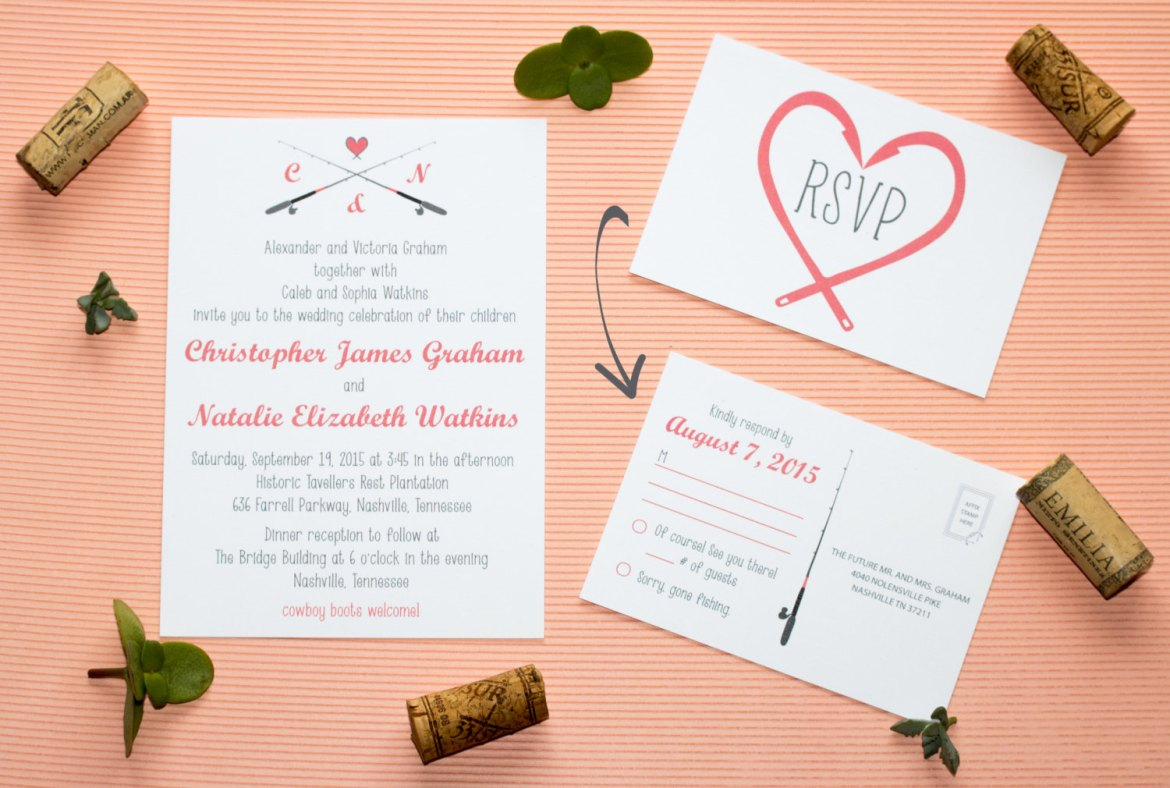 30 fishing themed wedding ideas you 39 ll reel y love for Fishing wedding invitations