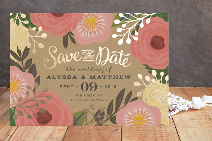 floral canopy | Foil Pressed Save the Date Cards via emmalinebride.com