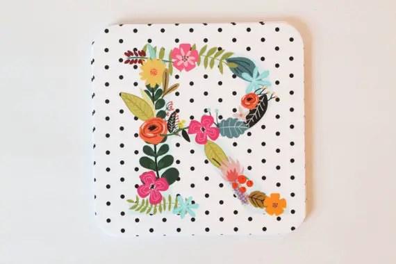 floral monogram wedding coaster
