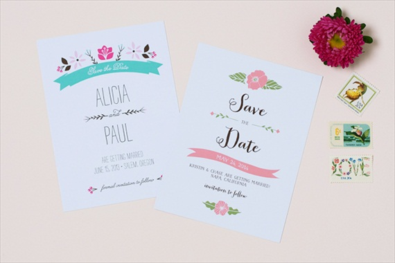 Spring Save the Dates (by Crafty Pie Press) - Floral Design