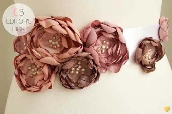Flower Sash for Wedding Dress in Blush | Emmaline Bride Editor's Pick