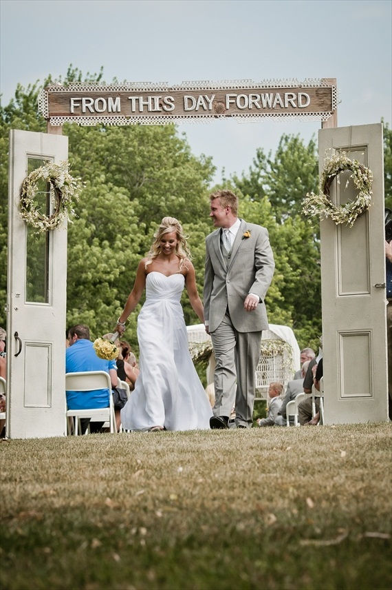 from this day forward wedding ceremony backdrop with doors | photo: LillieDahl Imaging