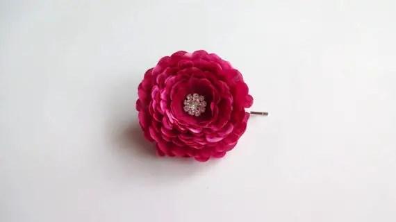 fushia hair flower pin - flower pins by hair blossoms boutique
