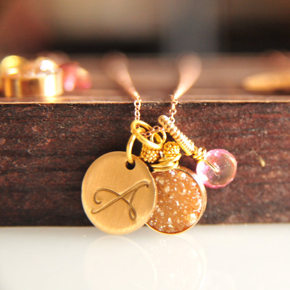gold and pink initial pendant bridesmaid druzy jewelry | druzy bridesmaid jewelry
