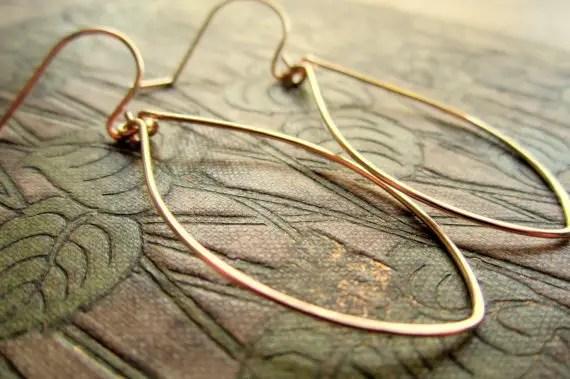 Gold Wedding Inspiration - leaf earrings (banana grove designs)