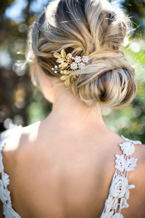 gold leaf hair accessory for weddings | lottie-da designs | http://emmalinebride.com/bride/gold-leaf-hair-accessory/