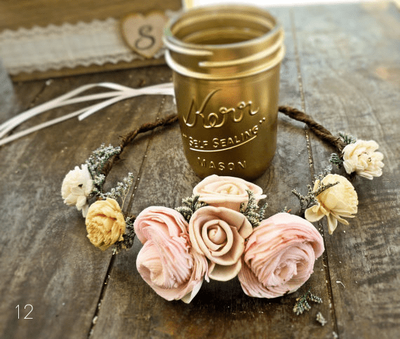 gold painted mason jars via 30 Best Gold Foil Ideas for Weddings EmmalineBride.com