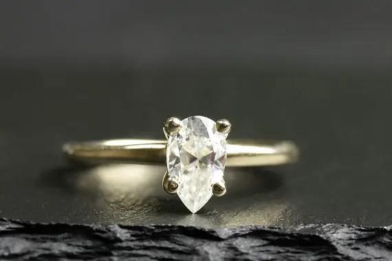 gold pear engagement ring | Engagement Rings Etsy | via http://emmalinebride.com/jewelry/40-best-handmade-rings-ever/ 