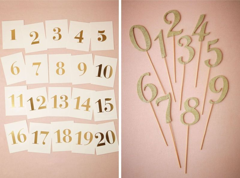 Gold Table Numbers for your Fall Wedding | via BHLDN Decor Ideas | http://emmalinebride.com/vintage/bhldn-decor-ideas-weddings/