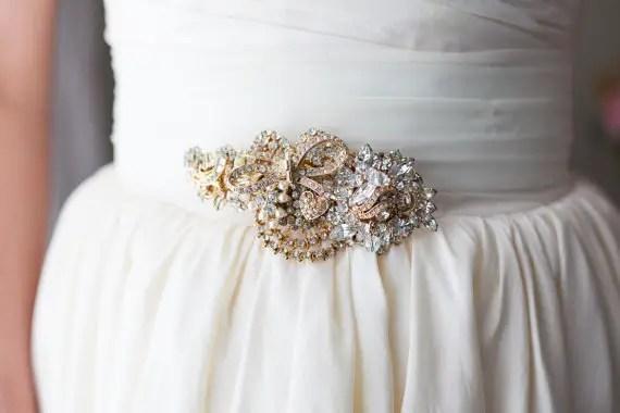 gold vintage brooch sash | dress sashes weddings |