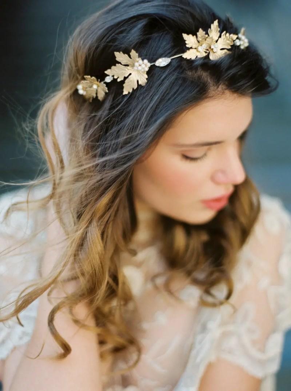 golden maple leaf hair crown