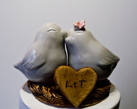 Love Bird Cake Toppers in Gray (by Dances With Clay)