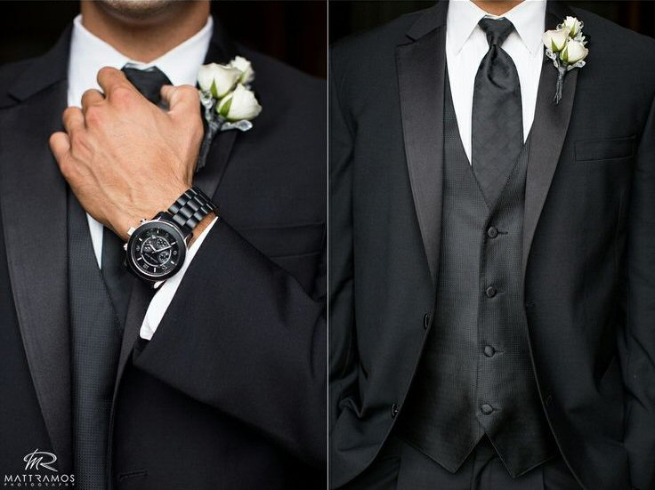 groom wearing watch | via 7 Helpful Tips to Be on Time for Your Wedding
