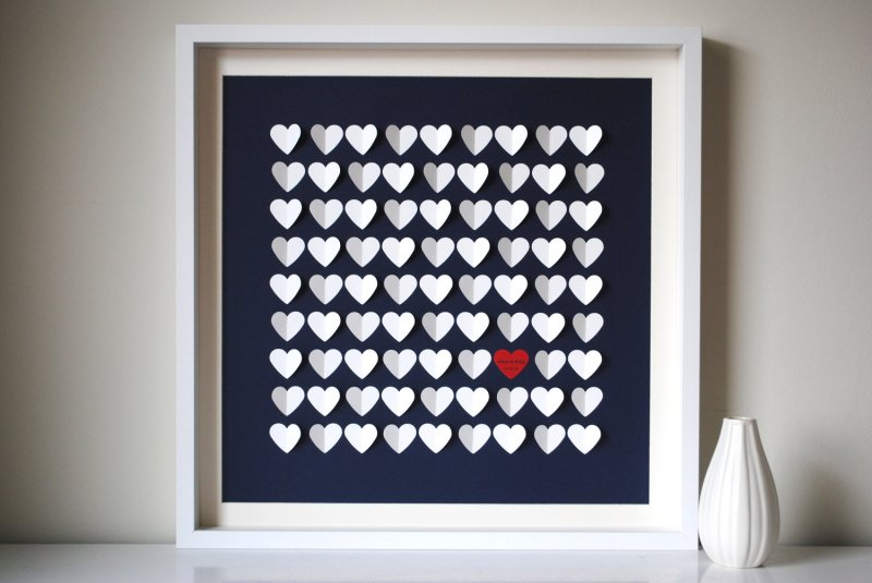 guest book alternative navy blue and white hearts | via http://emmalinebride.com/decor/navy-and-white-wedding-ideas/ | from 21 Navy and White Wedding Ideas