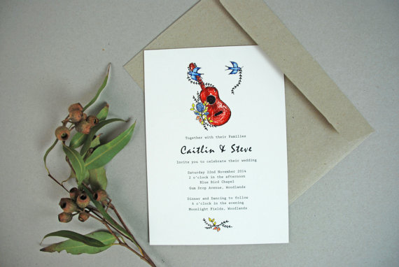 guitar folk wedding invitations