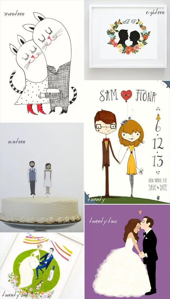 handmade wedding illustrations