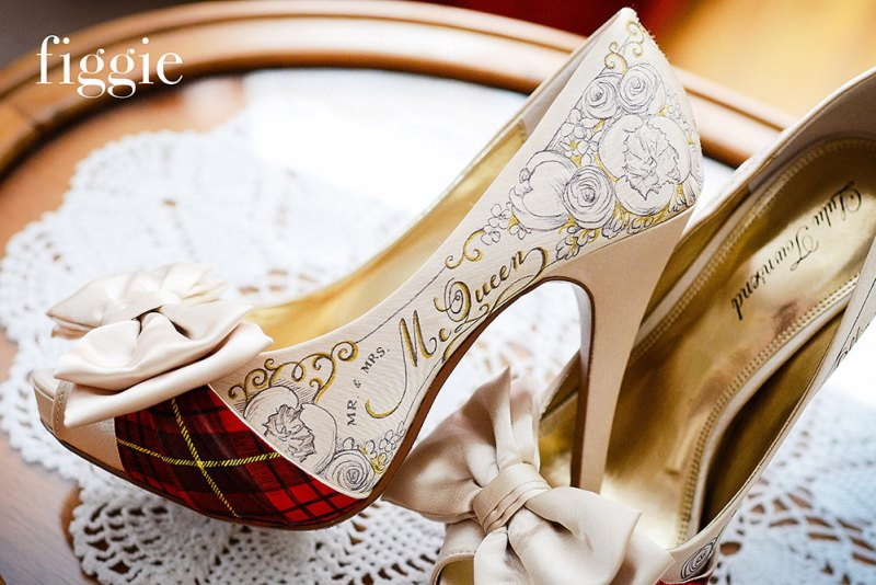 handpainted mcqueen tartan plaid wedding shoes | via 31 Best Handmade Wedding Shoes http://emmalinebride.com/bride/handmade-wedding-shoes/