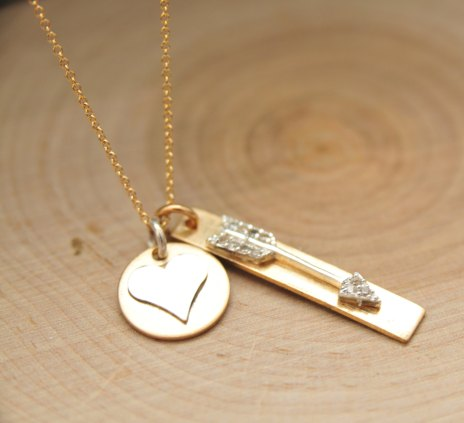 heart and arrow necklace by bare and me   via emmalinebride.com
