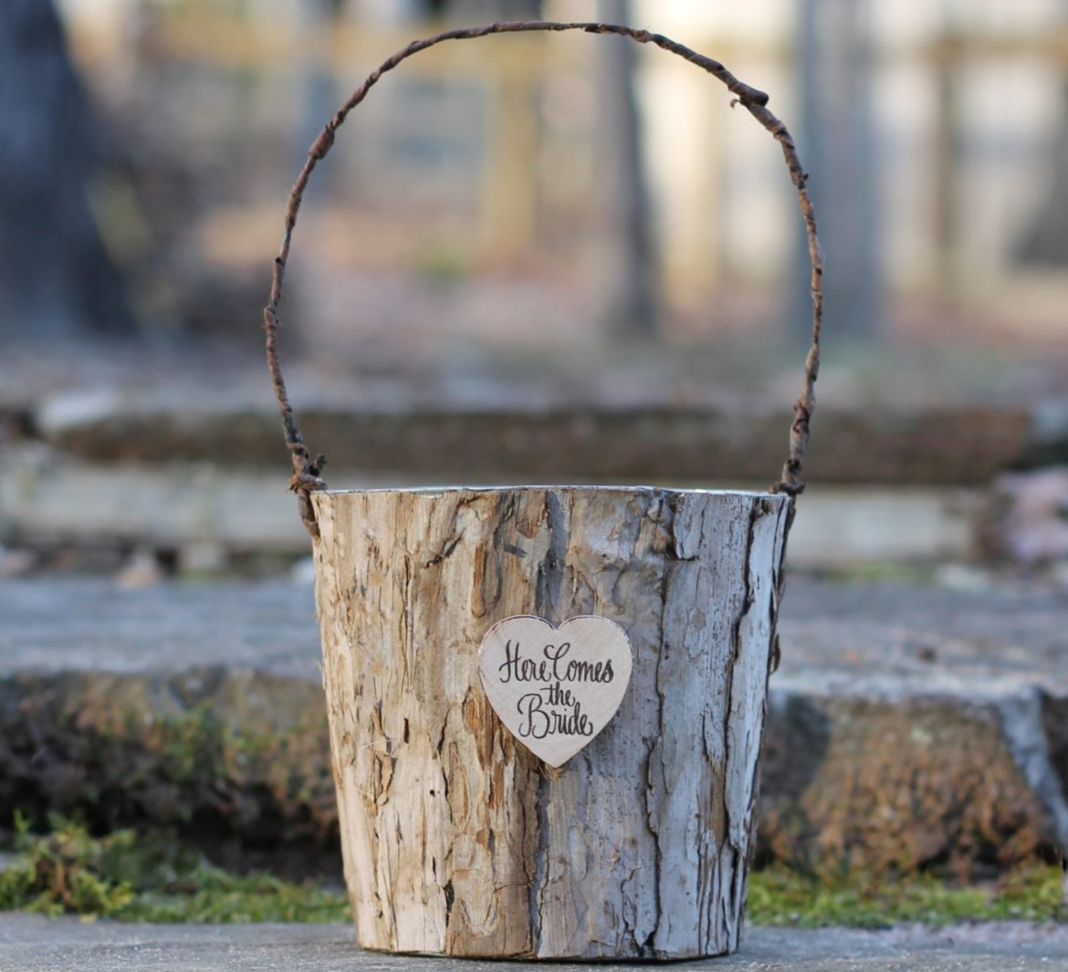 here comes the bride birch basket   Rustic Flower Girl Baskets