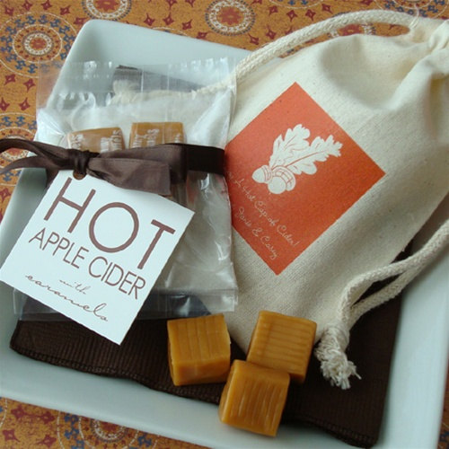 fall wedding favor ideas - hot apple cider favors (by little things favors)