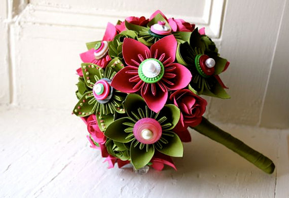hot pink and green wedding bouquet