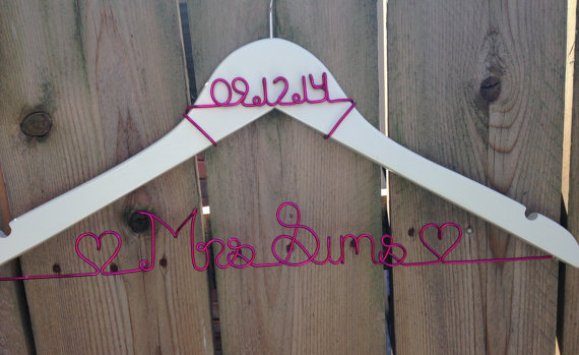 hot-pink-wedding-hanger-with-name-and-date