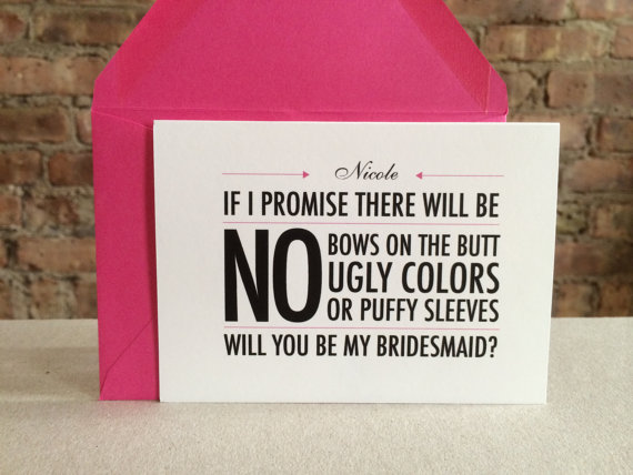 i promise there will be no bows on the butt bridesmaid card (be my bridesmaid card)