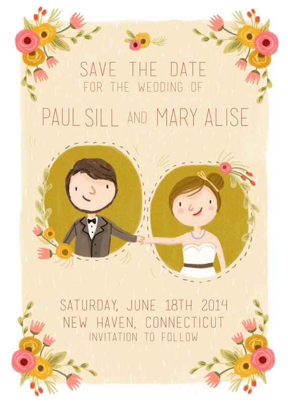 whimsical illustrated save the date cards with hand-drawn portrait