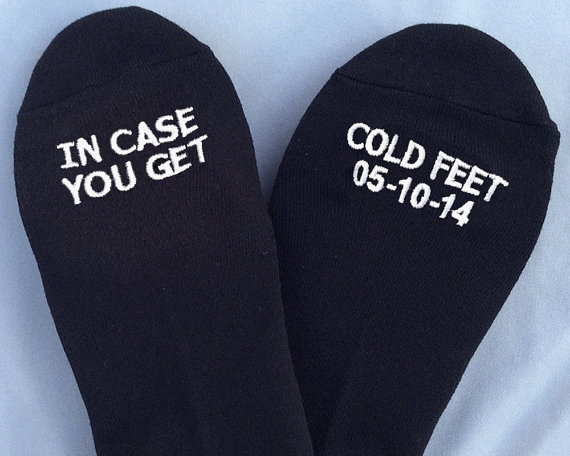 In Case You Get Cold Feet Socks   http://emmalinebride.com/groom/in-case-you-get-cold-feet-socks/
