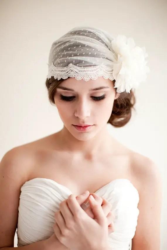 How to Rock a No Veil Wedding Look (via EmmalineBride.com) - bridal cap by Melinda Rose Design, photo by Atlas and Elia