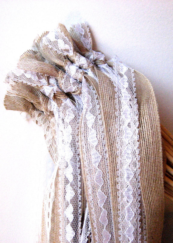 lace and burlap ribbon wands