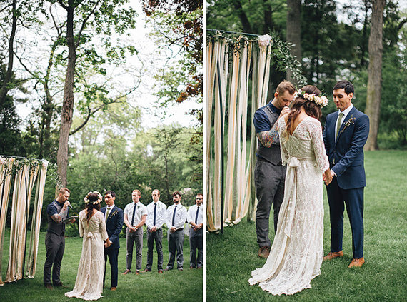A stunning lace bohemian style wedding gown by Be My Bride | photo: jessica stoe | etsy boho weddings | http://emmalinebride.com/bohemian/etsy-boho-weddings/