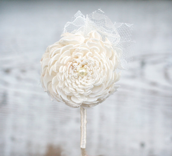 lace boutonniere by thesunnybee - lace accessories weddings
