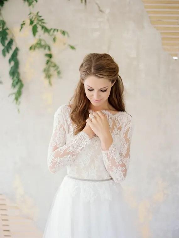 wedding dress lace sleeves open back