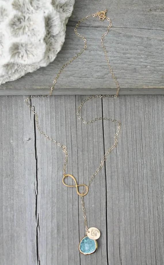 lariat cracked aquamarine glass pendant
