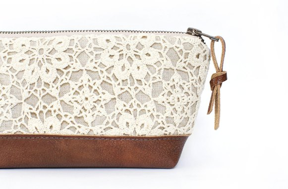 leather and lace clutch purse