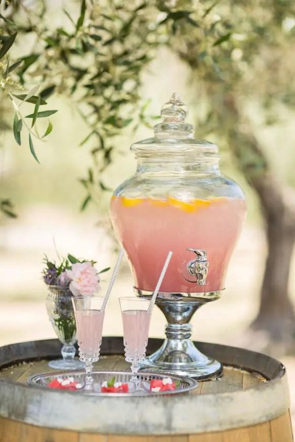 lemonade on wine barrel - closer look