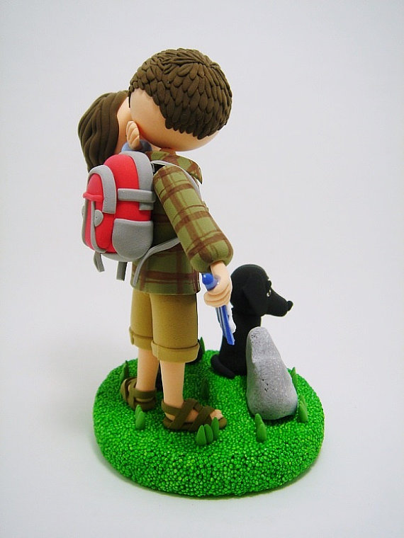 let the adventure begin cake topper for hikers with dog - back - 2