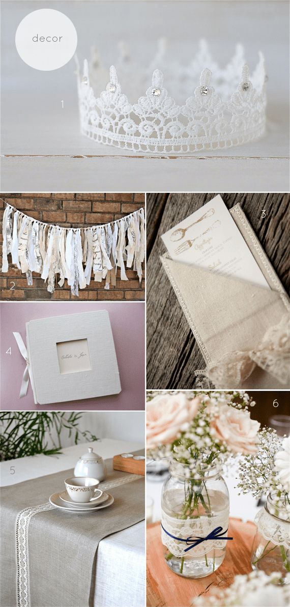 linen and lace wedding theme decor
