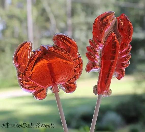 lobster nautical wedding favors lollipops